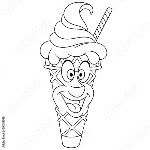 Coloring Book Coloring Page Colouring Picture Ice Cream Cone Buy This Stock Vector And Explore Similar Vectors At Adobe Stock Adobe Stock