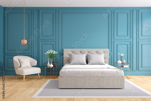 Modern And Vintage Bedroom Design Cozy Gray Room Concept Blue Wall And Wood Floor 3d Rendering Buy This Stock Illustration And Explore Similar Illustrations At Adobe Stock Adobe Stock