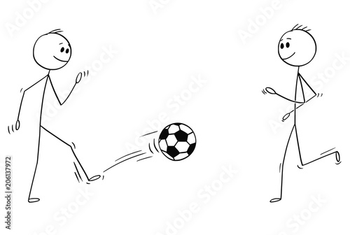 Cartoon stick man drawing conceptual illustration of two
