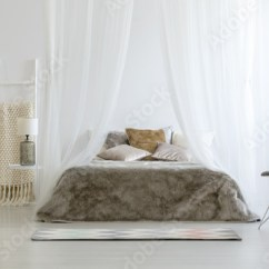 Bedroom Chair With Blanket Folding Table And Chairs Pattern Standing In White Interior On Ladder Glass Lamp Fur Coverlet Placed Double Bed Pillows Canopy