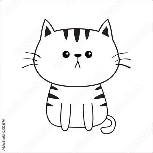 Linear cat sad head face silhouette. Contour line. Cute