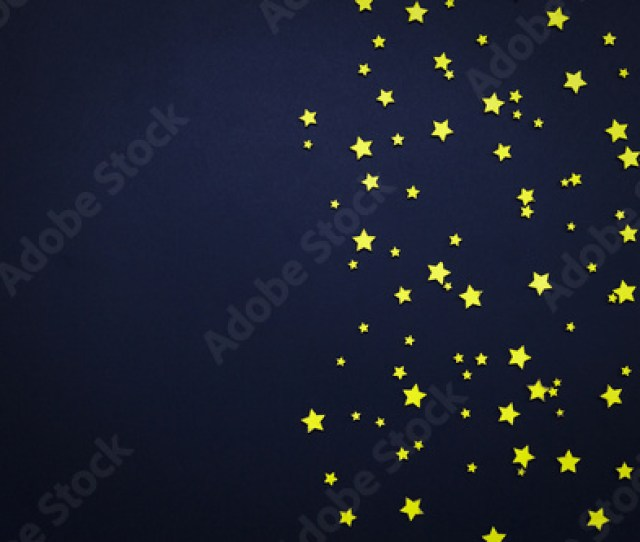 Decorative Stars On A Dark Blue Background Concept Of The Night Sky Can Be