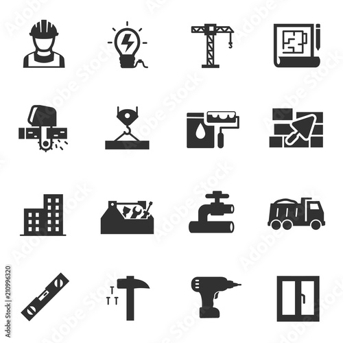 Building construction, monochrome icons set. Constructing