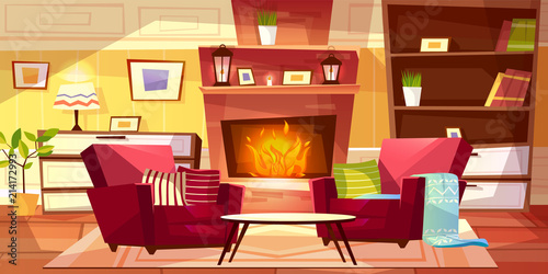 Living Room Interior Vector Illustration Of Cozy Modern Or Retro Apartments And Furniture Cartoon Background Of Armchairs At Fireplace Table And Bookshelf With Lamp On Drawer Buy This Stock Vector And