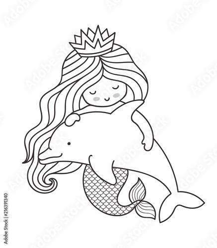 kawaii mermaid hugging dolphin. cartoon character vector