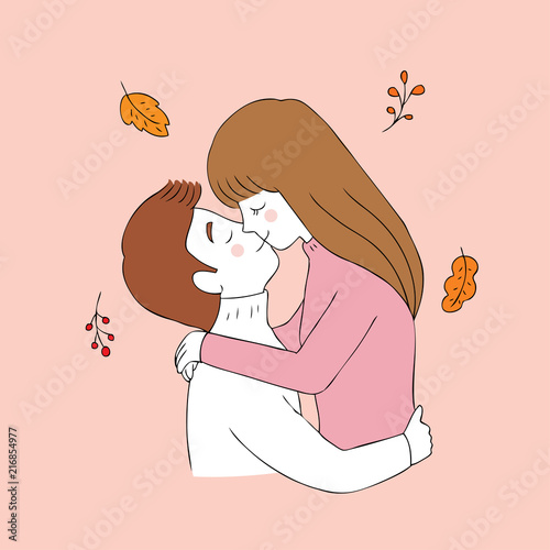 Cute Cartoon Couple Kiss Pic