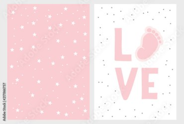 Cute Baby Shower Vector Card Hand Drawn Baby Shower Vector Illustration Set Cute Little Baby Foot Pink Love White Background Light Pink Pastel Simple Design Buy this stock vector and explore