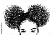 curly beauty girl illustration