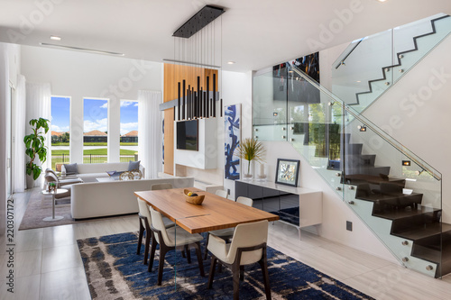 open plan staircase in living room the candidate what makes an effective ad modern white and dining with glass