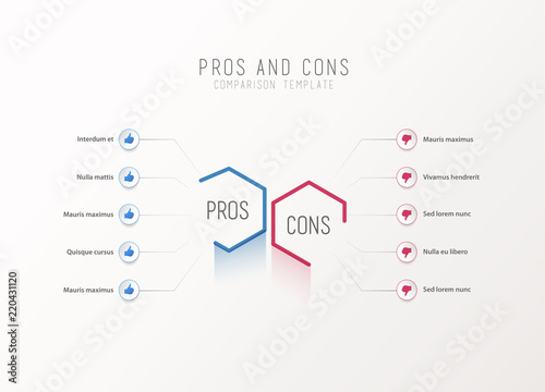 Pros and Cons comparison vector template light vector ...