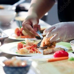 Kitchen Chief Island Small Chef Preparing Food Meal In The Cooking Decorating Dish