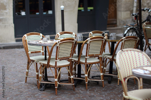 parisian cafe table and chairs portable folding chair empty in a montmartre buy this stock photo