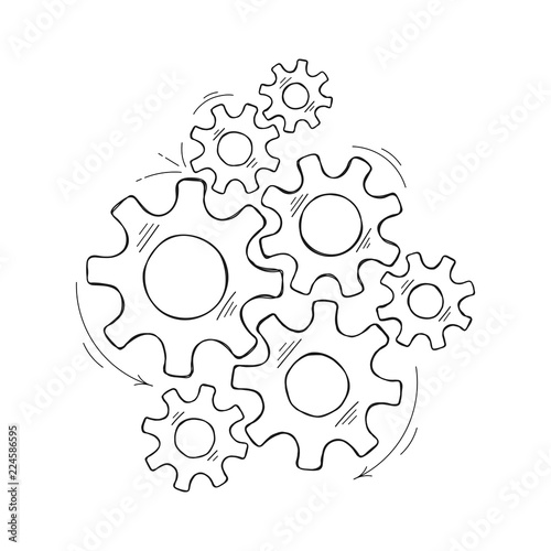 Mechanical gears vector sketch illustration. Cooperation