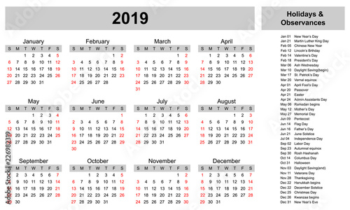 Simple calendar template for 2019 year with holidays and ...