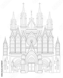 Fantasy drawing of medieval Gothic castle Black and white page for coloring book Worksheet for children and adults Vector image Buy this stock vector and explore similar vectors at Adobe Stock