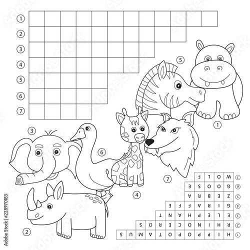 Vector crossword coloring book page, education game for