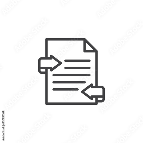 Exchange documents file outline icon. linear style sign