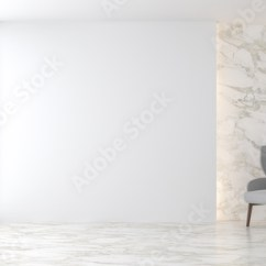 White Wall Decorations Living Room Best Sectional Sofa For Small Minimal 3d Render There Are Marble Floor Decorate With Hidden Light In The Furnished Gray Fabric Chair Has Large