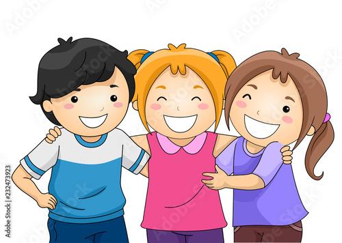 kids best friends illustration