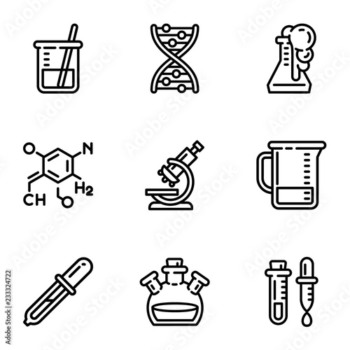 Chemistry lab icon set. Outline set of 9 chemistry lab