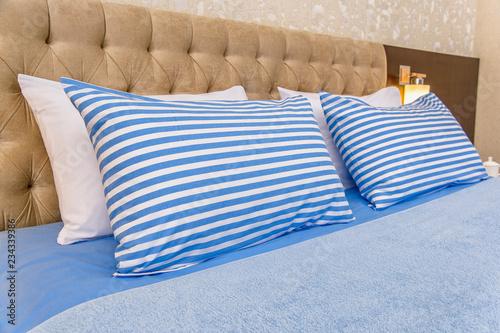 cotton bedding white blue striped