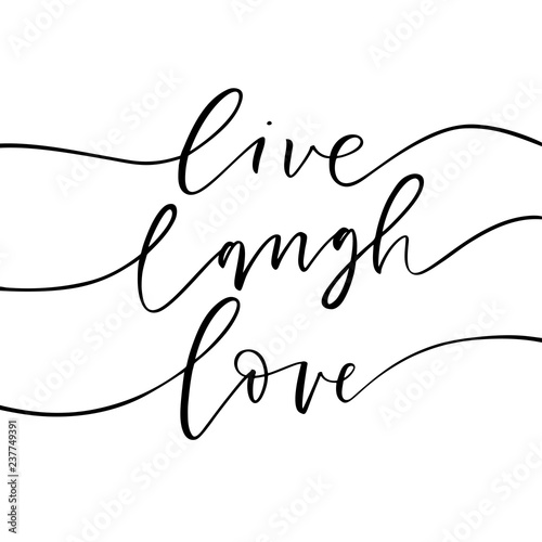 Download Live, laugh, love card. Hand drawn modern calligraphy ...