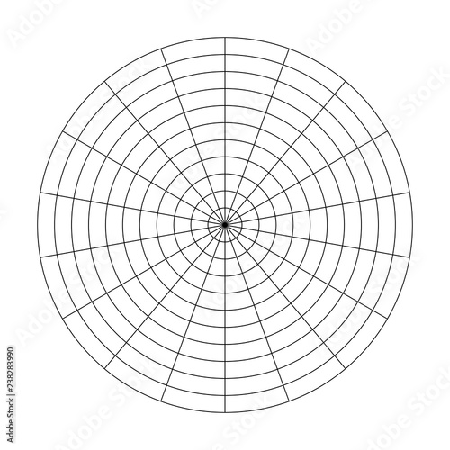 Polar grid of 10 concentric circles and 20 degrees steps