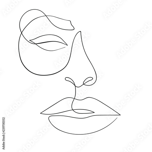 One line drawing face. Modern minimalism art, aesthetic