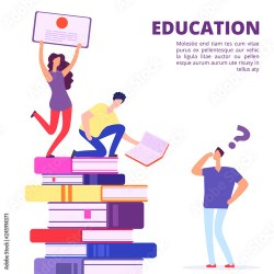 Education through books and self study vector illustration Help and support in education Education study university self teaching Buy this stock vector and explore similar vectors at Adobe Stock Adobe Stock