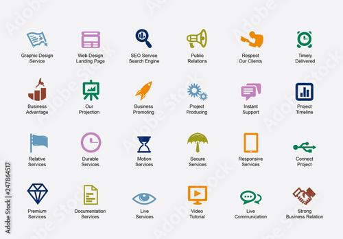 seo business icon set