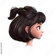 3d cartoon character of brunette