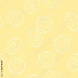 Soft pastel yellow background with donuts Vector seamless pattern with donuts Cute sweet food baby background Colorful design for textile wallpaper fabric decor Buy this stock vector and explore similar vectors