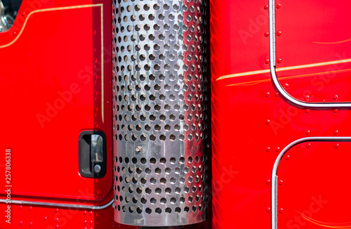 https stock adobe com images red big rig semi trucks cab wall and stainless trucks exhaust pipe filter 257806338 start checkout 1 content id 257806338