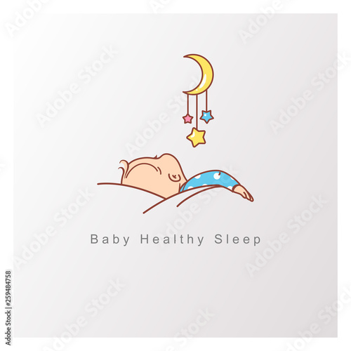 https stock adobe com images baby sleep logo template healthy baby sleep at night child sleep on pillow under blanket crib with mobile view from back toy hang over sleeping baby design template color vector illustration 259484758 start checkout 1 content id 259484758