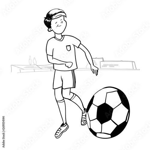 Cartoon football player, funny cartoon character boy
