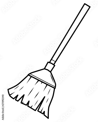 Broom Clipart Black And White : broom, clipart, black, white, Broom, Cartoon, Vector, Illustration,, Black, White, Style,, Isolated, Bacground., Stock, Adobe