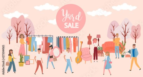 Yard sale poster with people selling and shopping at walking street vintage furniture clothes and accessories shop cartoon flat design Editable vector illustration Buy this stock vector and explore similar vectors