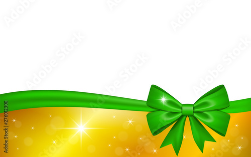 gold gift card with green ribbon bow