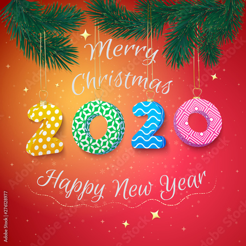 Merry Christmas and Happy New Year 2020 card with fir branches. - Buy this stock vector and explore similar vectors at Adobe Stock   Adobe Stock