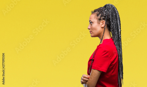 Young Braided Hair African American Girl Over Isolated Background