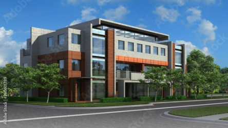 3D Illustration of a luxury residential building in a contemporary architectural style Buy this stock illustration and explore similar illustrations at Adobe Stock Adobe Stock