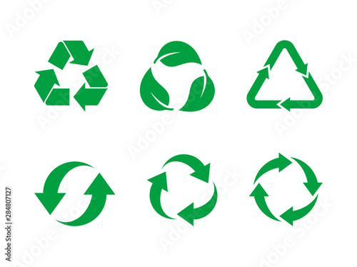 Recycle Symbol Vector Set Green Recycle Sign Set On White Background Collection Of 6 Different Recycling Icons Reuse Renew Recycling Materials Concept Vector Illustration Flat Style Clip Art Buy This Stock