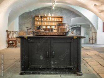 Interior of an old medieval kitchen in Switzerland Buy this stock photo and explore similar images at Adobe Stock Adobe Stock