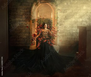 gothic dark queen sits in castle on golden throne black dress with butterflies Brick wall large gothic room magical sun rays from window Long train fashionable silk skirt Glamorous fantasy woman