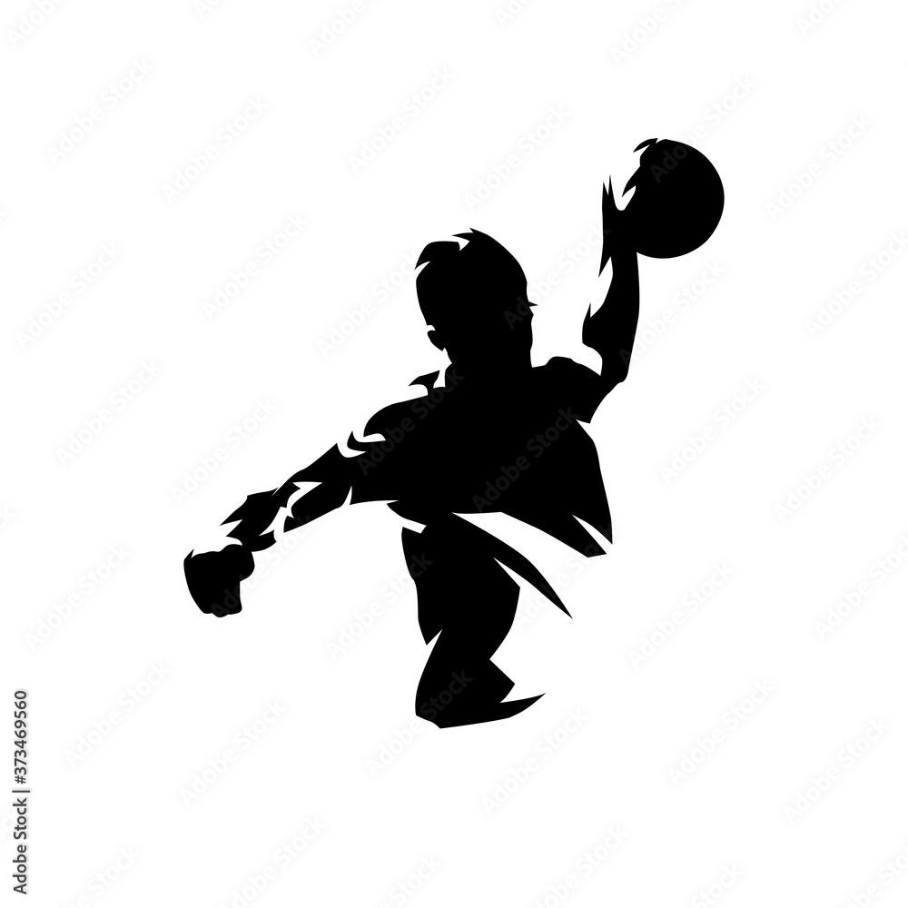 handball player throwing ball and