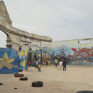 Art on the walls of ruins in James Town (Chale Wote)