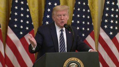 Donald Trump at press briefing