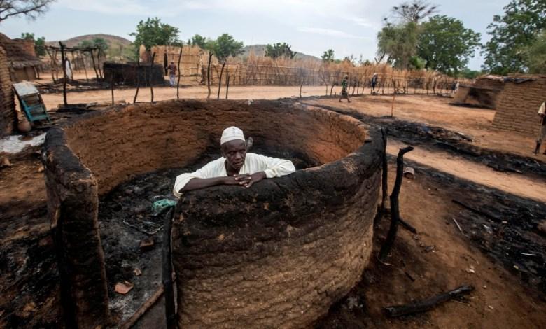 Burnt house in Darfur, Sudan