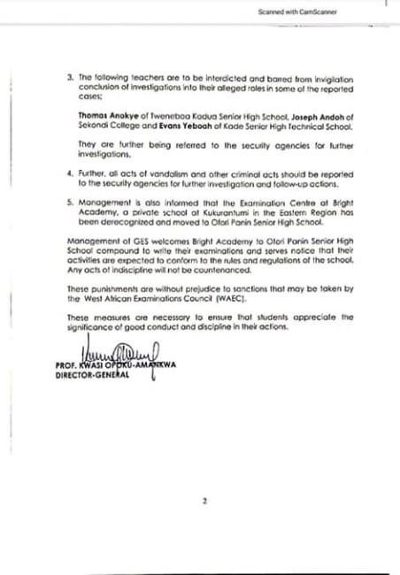Prof Opoku-Amankwa (GES) statement on WASSCE riots