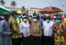 Photo of President Akufo-Addo cuts the sod for Elmina Fishing Port
